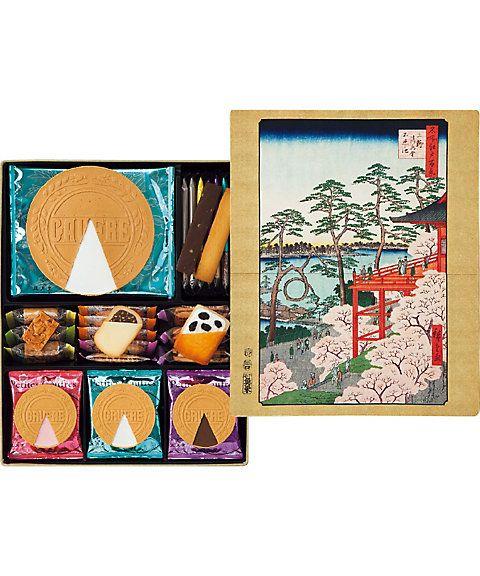 上野の銘菓を上野の名所で彩る。銘菓「ゴーフル」をはじめ、〈上野風月堂〉の人気の味わいを一堂に。缶には歌川広重の名所江戸百景より桜の名所、上野不忍池の絶景をあしらいました。