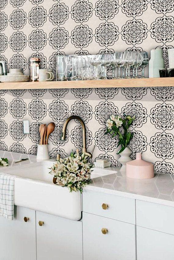 Tile Decals Tiles For Kitchen Bathroom Back Splash Floor Etsy Vinyl Wallpaper Marble Effect Wallpaper Tile Decals