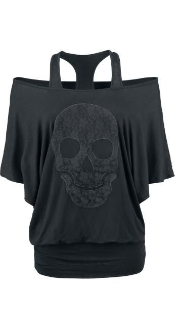 Lace Skull Top by Rock Rebel ~ EMP