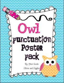 This owl themed Punctuation Poster Pack, by Marisa Curtis of First Grade Glitter and Giggles, is a great writing companion to any owl themed classroom. 3 forms of punctuation are identified in posters for period, question mark, and exclamation mark as well as sample sentences.