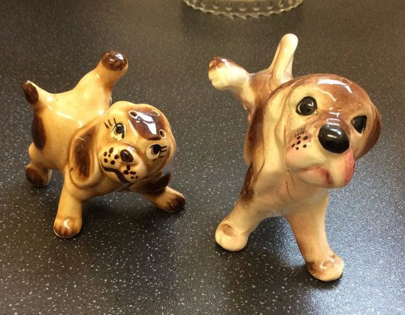 Vintage kitsch dogs salt and pepper shakers by PortobelloVintageUK