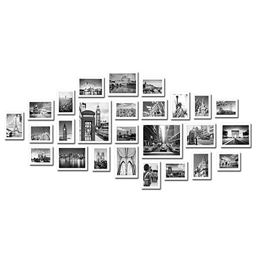 Large Multi Picture Photo Frames Wall Set 26 Pieces Set (White)