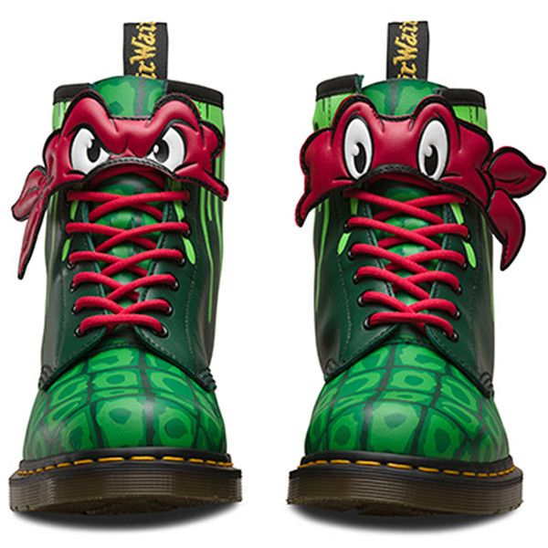 Dr Martens Raph TMNT 1460 Boots (Green) ($160) ❤ liked on Polyvore featuring shoes, boots, dr martens footwear, dr. martens, green boots, dr martens shoes and dr martens boots