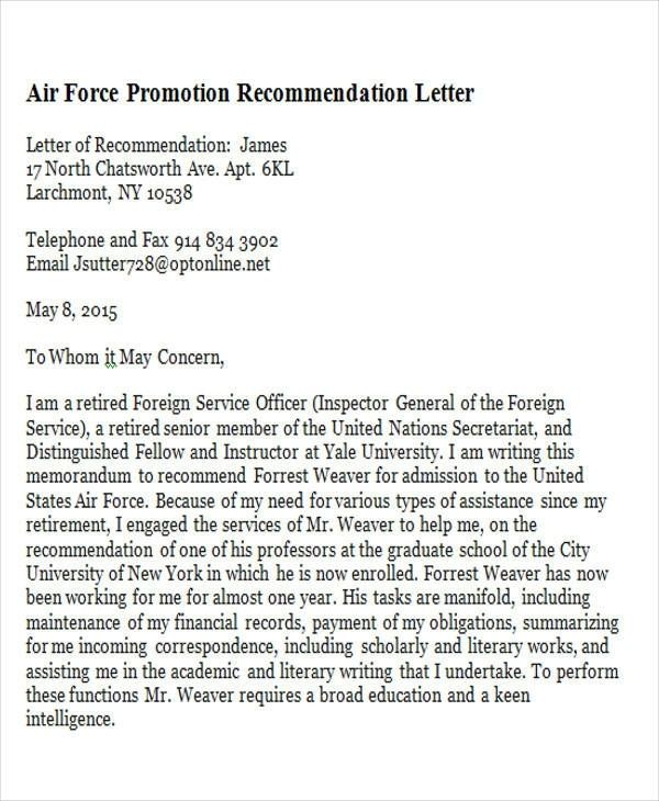 7  sample promotion recommendation letter
