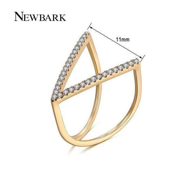 Newbark 패션 액세서리 보석 반지 독특한 v 모양 기하학적 반지 포장 마이크로 큐빅 지르코니아 펑크 파티 anillos