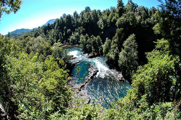 Vista panorâmica do Rio Fuy, no interior da Reserva Biológica Huilo-Huilo. Foto: Wikimedia Commons