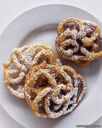 Funnel Cakes - Martha Stewart Weddings Planning   Heard Daphne Oz talking about funnel cakes they had at her wedding :) such a fun idea and unique! Yum!