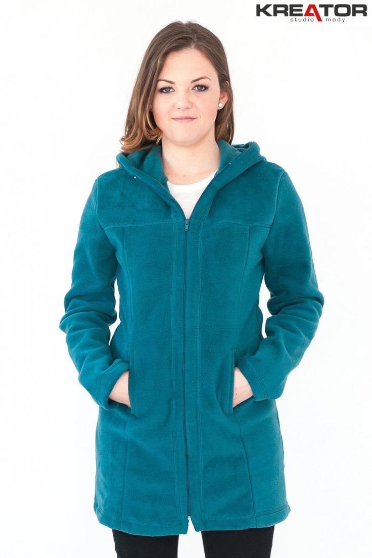 Płaszcz polarowy z kapturem, Kreator Studio Mody, r. 38-40 M - Rozmiar 38-40 M - Płaszcze polarowe