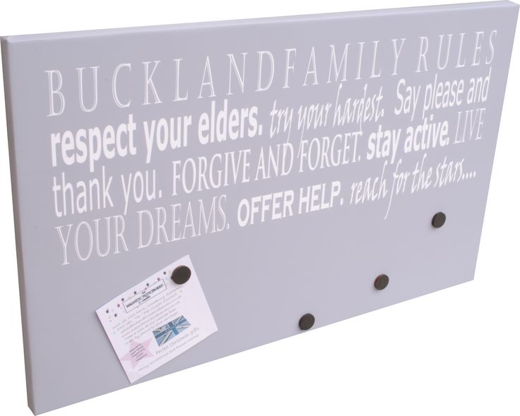 family rules magnetic noticeboard available from