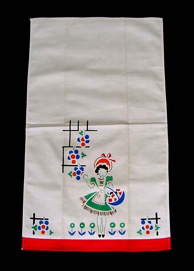 Vintage 1940s Tea Towel Mary Quite Contrary Garden Kitchen Linen Printed Flower Gardens