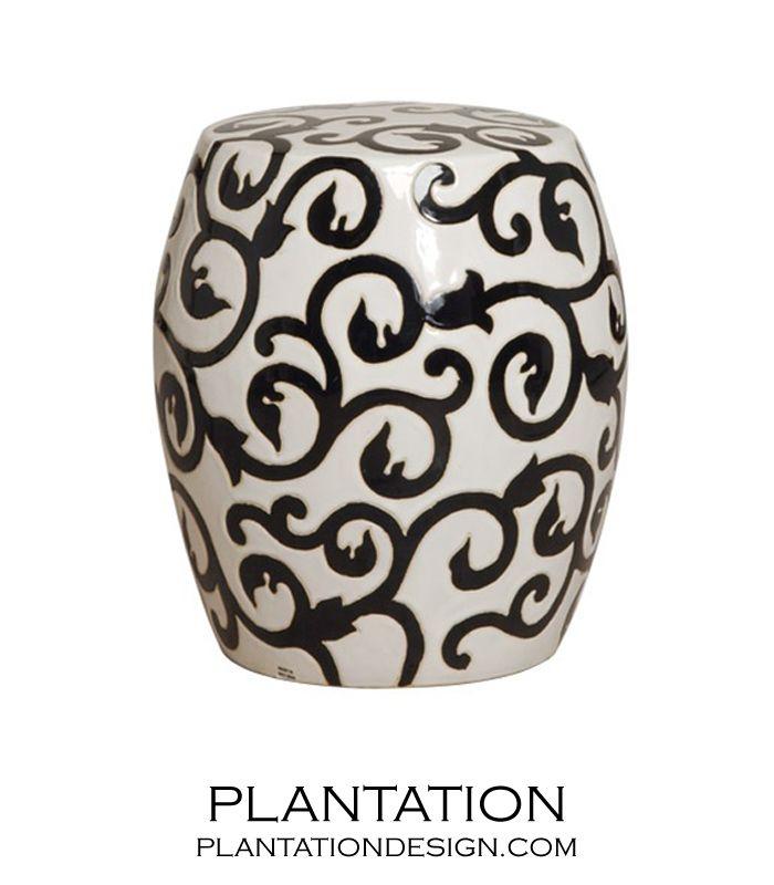 Scrolled Ceramic Stool | White W/ Black