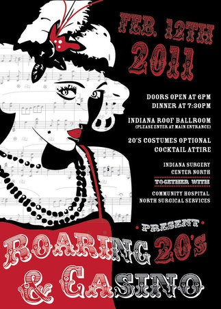 Roaring 20's Party Invite - I like the idea of having the style shown on the invite so people can try to dress to the theme!