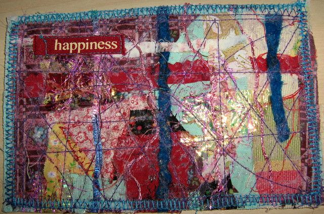 layers textile art | These fabric Postcard where created using layers of fabric scraps ...