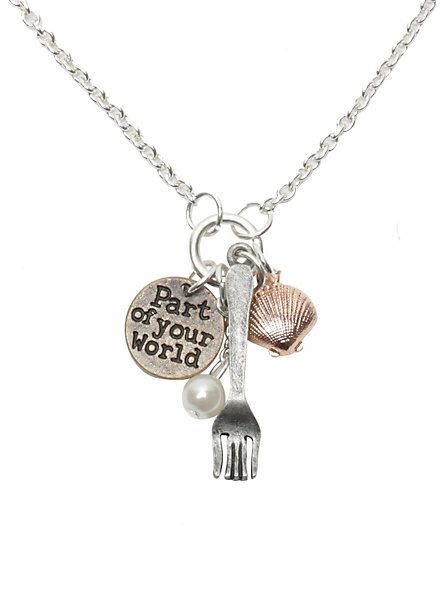 Disney The Little Mermaid Fork Shell Charm Necklace | Hot Topic. I JUST GOT THIS AHHHH!!