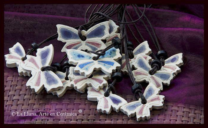 Colgantes Mariposa colores  Diseño de La Lluna, Arte en Cerámica®