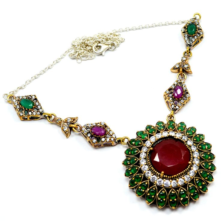 Silvesto India Ruby, Emerald And White Topaz (Lab) 925 Sterling Silver & Bronze Necklace with Pendant for Women pg-7132  https://www.amazon.es/dp/B01H5C1YLO