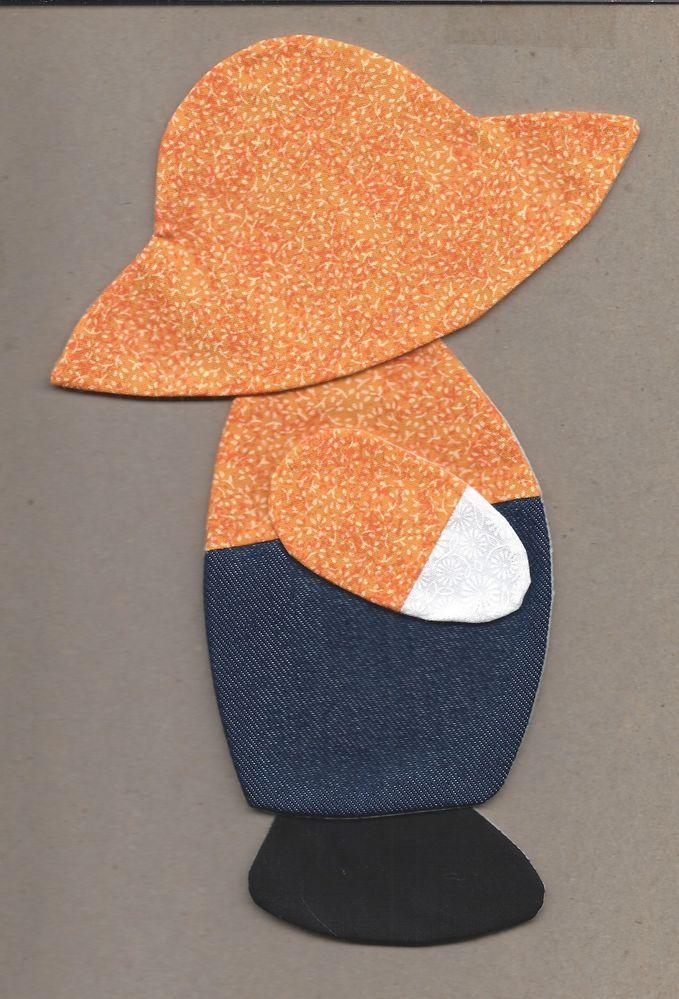 6 Orange Suspender Sam Quilt Blocks Kit Sun Bonnet Sue