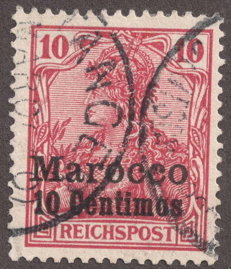 "1911 Offices in Morocco:  Scott 54 1p25c on 1m   German stamps of 1905  surcharged ""Marokko""  Quick History  This section is not really ""..."