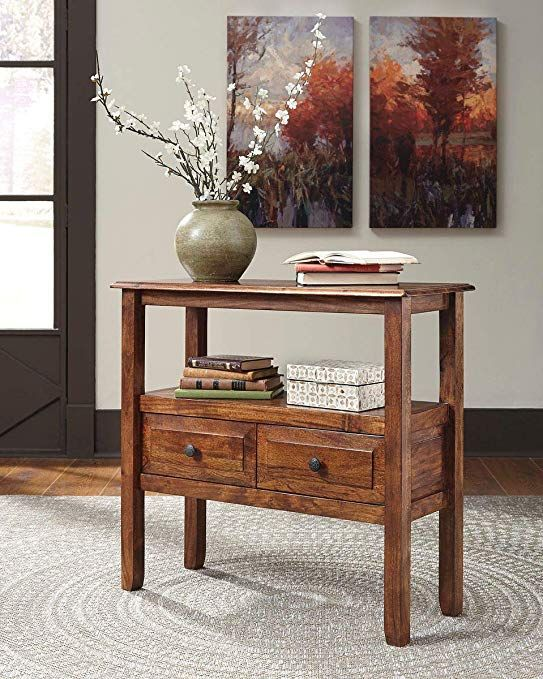 Ashley Furniture Signature Design Abbonto Accent Table W 2 Drawers Warm Brown Finish Dark Pewter Handles Review