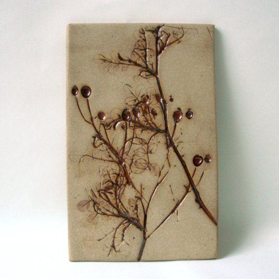 rosehip imprint; ceramic wall art