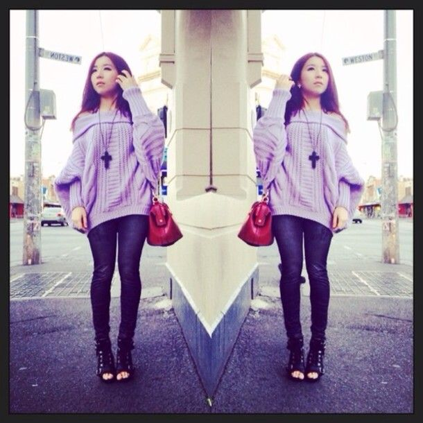 sweater pastel purple knit sweater knitwear sweater knitwear pastel color pastel shirt vintage bag leather vintage bag lace up ankle boots cross necklace lace up heels lace up shoes off the shoulder knit off the shoulder sweater off shoulder jumper oversized sweater oversized sweaters oversized jumper off-shoulder off shoulder off the shoulder sweater, off the shoulder