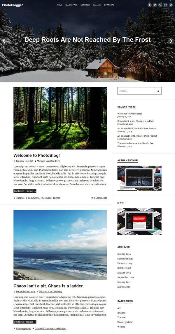 PhotoBlogger Wordpress Theme - Free Download