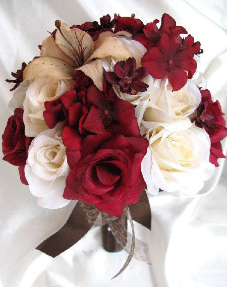 Wedding Bouquet Bridal Silk Flowers Burgundy Cream Lily Champagne 3 Pc Package Bridesmaids Boutonnieres Corsages