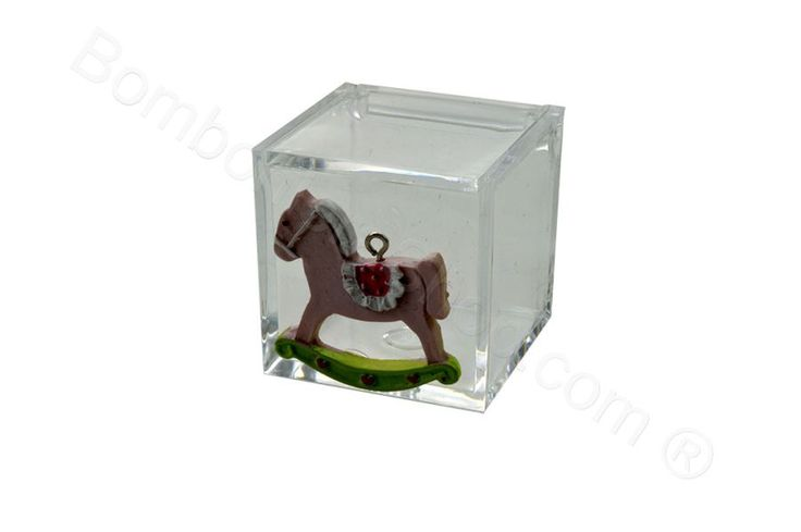 Cubo in plexiglass con applicazione cavallino e carrozzina in resina rosa per il fai da te della bomboniera (LS)