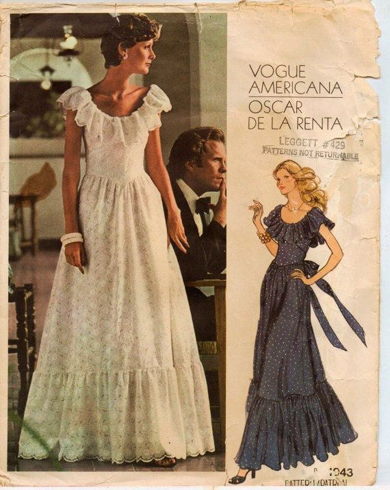My prom dress pattern - made in an expensive white bordered eyelet. 1974 Vogue Americana Pattern 1043 by Oscar de la Renta
