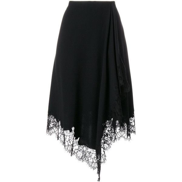 Givenchy lace trim handkerchief skirt (€1.445) ❤ liked on Polyvore featuring skirts, black, lace trim skirt, high-waisted skirt, lace skirts, high waisted wrap skirt and high waist skirt