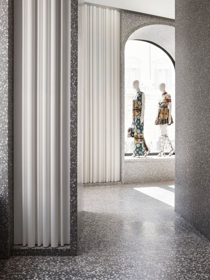 DAVID CHIPPERFIELD ARCHITECTS ADDS NEW MATERIALS AND TECHNIQUES TO VALENTINO ROMAN FLAGSHIP STORE  #terrazzo #marble