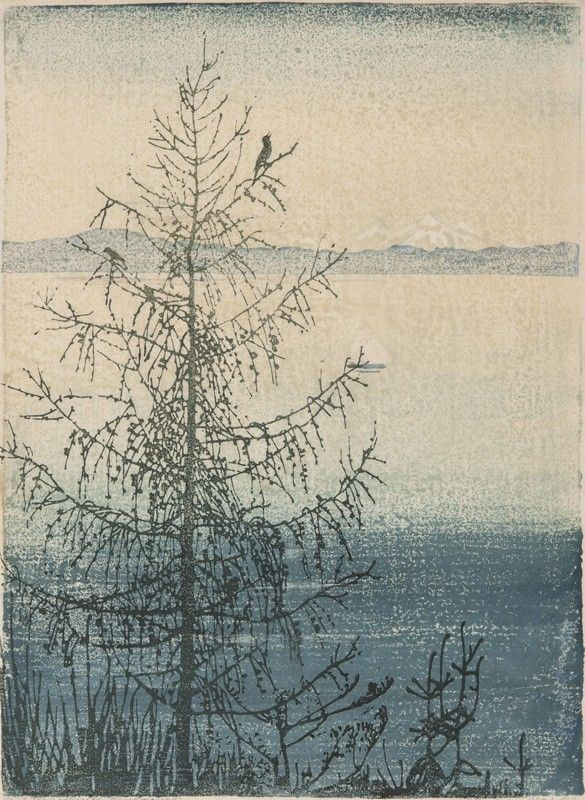 ✨ Hedwig Jarke, German (1882-1949) - Kahle Lärche am Starnberger See, Farbholzschnitt ::: Bold Lark at Lake Starnberg