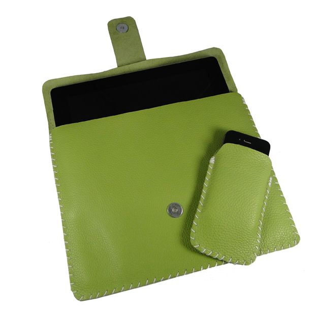 Hand Sewn Apple Green Leather iPad and iPhone sleeve