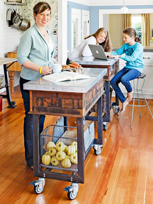 moveable islands are a great addition to any kitchen needing more counter or storage space #hgtvmagazine http://www.hgtv.com/kitchens/one-of-a-kind-kitchen-design/pictures/page-5.html?soc=pinterest#