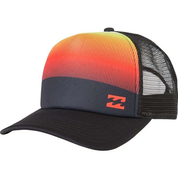 Billabong Unisex Pulse Trucker Hat ($17) ❤ liked on Polyvore featuring accessories, hats, orange, orange trucker hat, snap back hats, truck caps, snapback hats and billabong