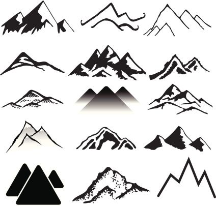 various versions of simple drawn mountains