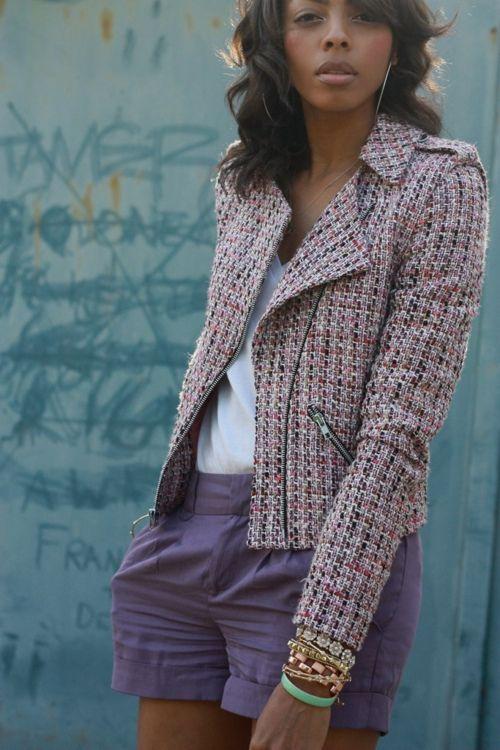 tweed biker jacket.