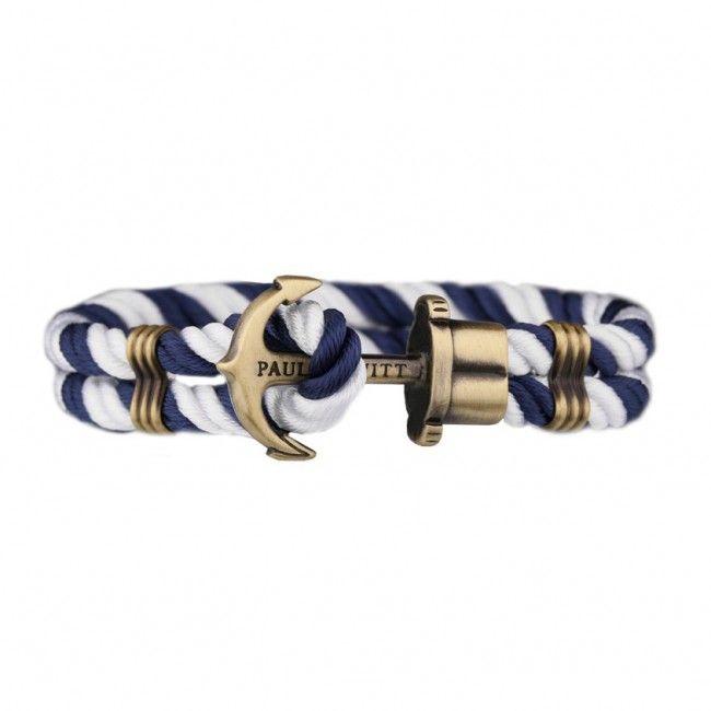 """Βραχιόλι Anchor PHREP IP Nylon Brass Navy Blue-White PH-PH-N-NW-M Βραχιόλι """"PHREP"""" Paul Hewitt από συνθετικό ύφασμα σε μπλε-λευκό με άγκυρα από επιχρυσωμένο μπρούτζο στο κούμπωμα."""
