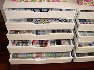 Ink, ribbon, chalks, buttons, stamps, brads, everything small that I have a lot of I throw in here {Alex Ikea...except in black}