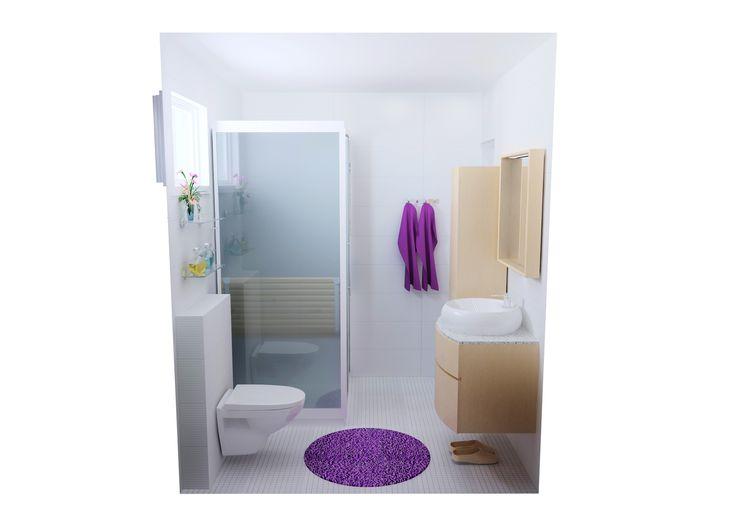 Kylpyhuonesuunnitelma Soul.   Tähän ilmavan valkoiseen kylpyhuoneeseen syntyy kiinnostavuutta ja rytmiä Rea-lattiamosaiikin ja kohokuvioidun Soul-seinälaatan yhdistelmästä. www.k-rauta.fi