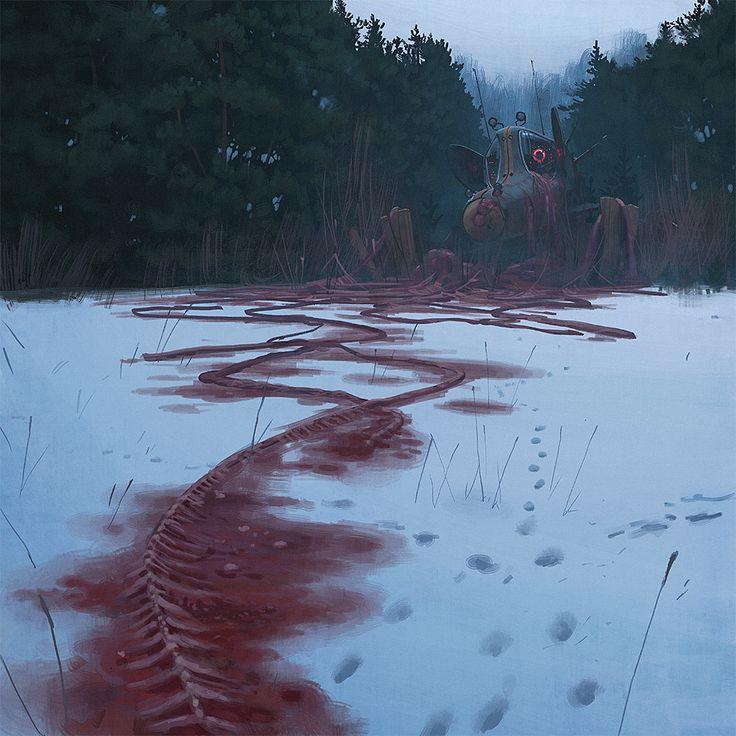 simon stålenhag's dreamy sci-fi paintings show the world after an alien invasion