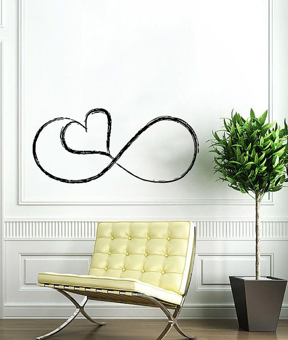 love infinitely logo infinity sign heart wall vinyl decals art design mural interior home decor sticker - Wall Vinyl Designs