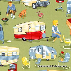 Vintage Trailer Travel fabric by Michael Miller