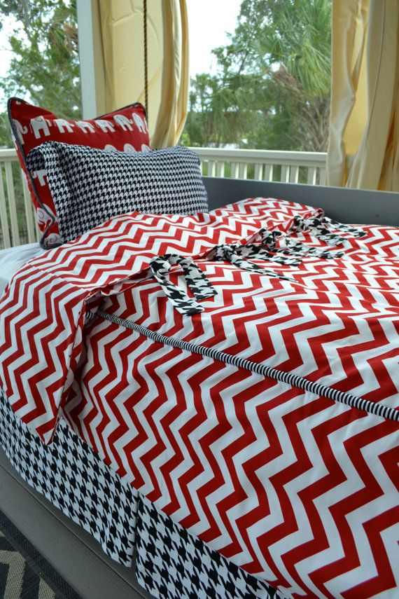"Alabama TWIN 4pc Bedding set by GritsandGraceBeddingCo - The ""Roll Tide"" set is pictured here."