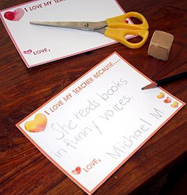 """""""I Love My Teacher Because..."""" Cards 