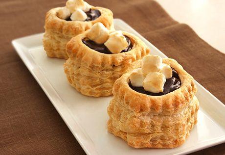 Chocolate Marshmallow Tarts: golden puff pastry shells ...