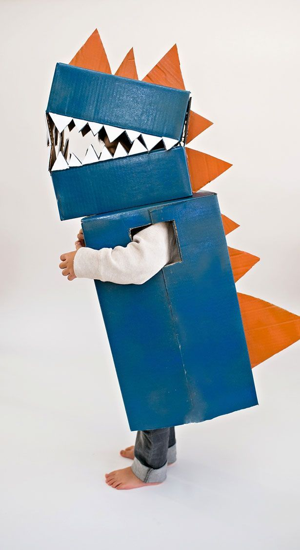 This dinosaur costume for kids is just made from cardboard! Such a fun DIY project for pretend play.