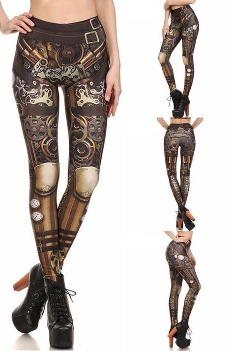 FREE WORLDWIDE SHIPPING!   Will normally be $39.99 but only $19.99 for a limited time ONLY!  Complete your Steampunk look with these absolutely gorgeous Steampunk Gear Leggings!