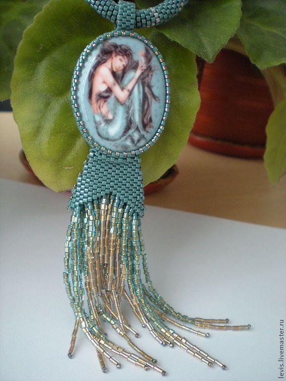 """Купить Колье """"Русалочка"""" - голубой, морская волна, рыбы, русалка, русалочка, чешуя, фарфоровая камея"""