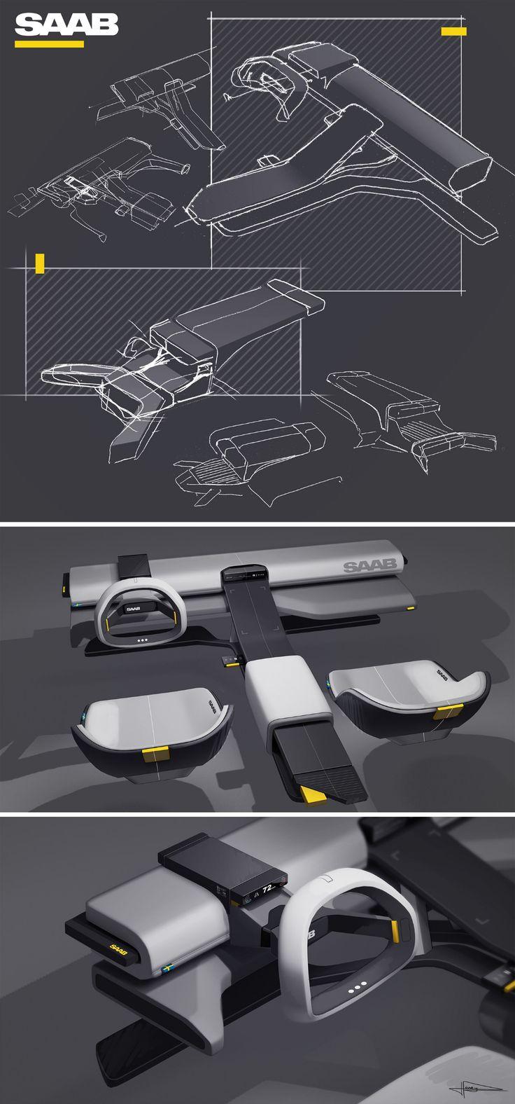 SAAB on Behance in 2020 Interior design renderings, Car